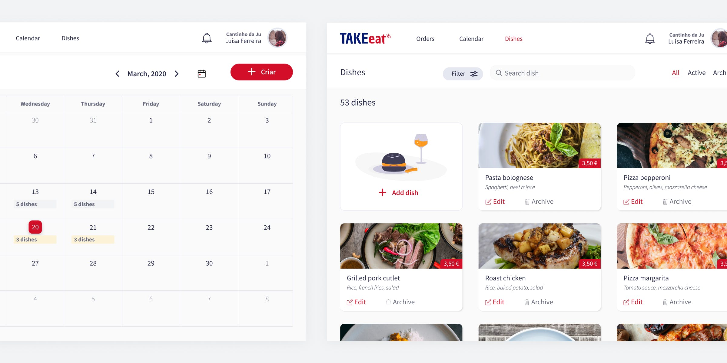 take-eat scheduling dashboard by Mosano