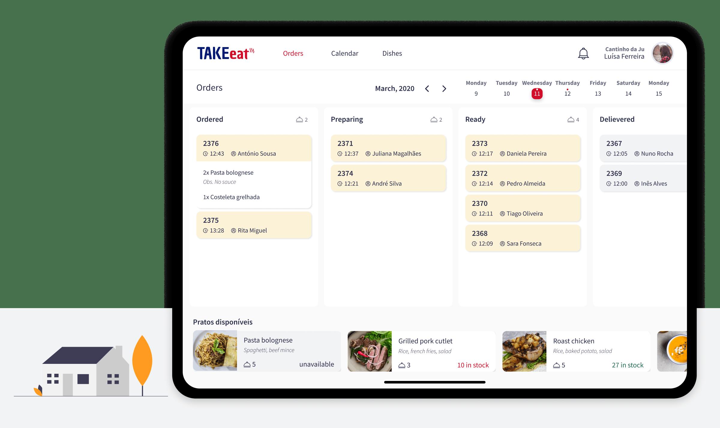 take-eat restaurant dashboard by Mosano