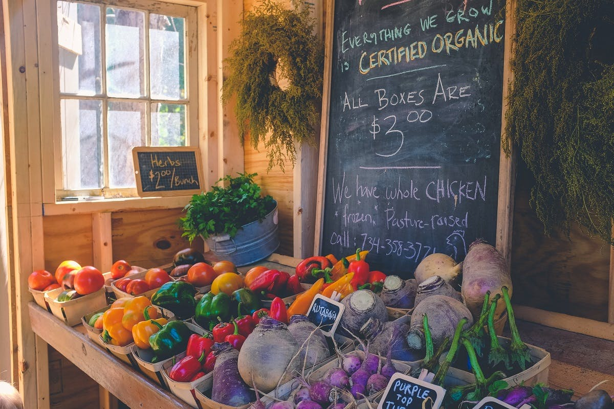 An organic food store advertising seasonal boxes of local vegetables. Eating the seasons means fresher produce, consumed closer to harvesting and with higher in nutritional value