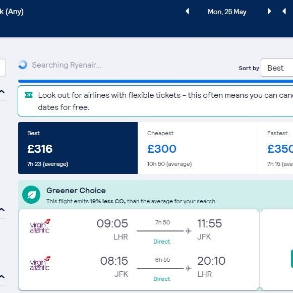 A screen shot of skyscanner's greener ticket options. Looking out for the greener ticket options is an easy step to more sustainable air travel.