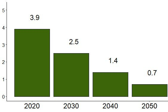 Carbon footprint targets to prevent warming beyond 1.5 degrees for 2020, 2030, 2040 and 2050.