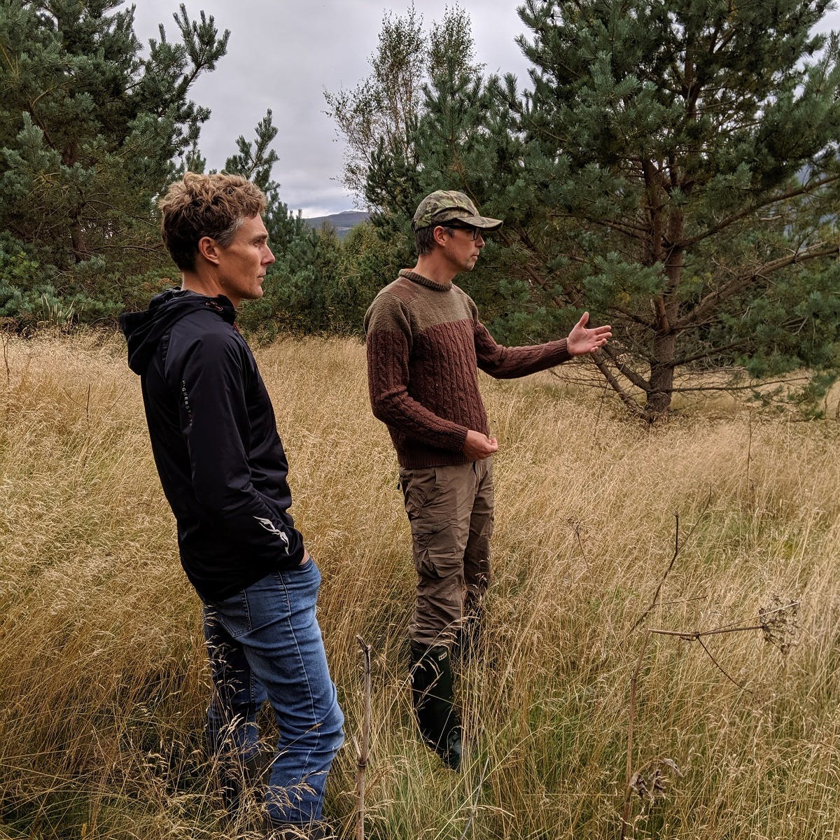 Matt ,Mossy Earth's co-founder, speaking about a successful rewilding project with Duncan, an expert fishing guide and advocate for land management reform, in the scottish highlands.
