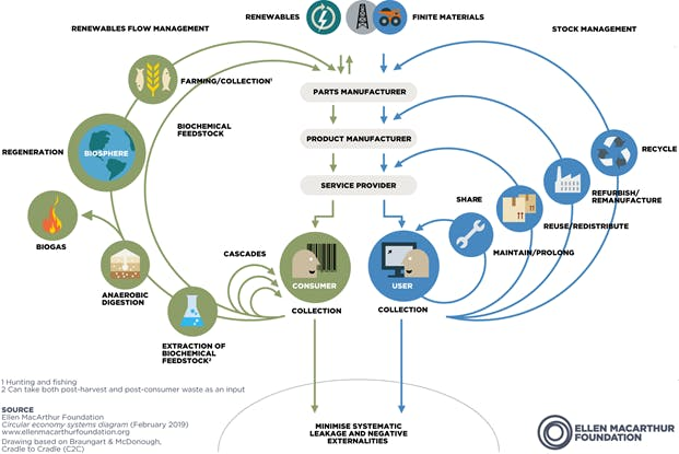 An info graphic of a circular economy by the Ellen MacArthur foundation