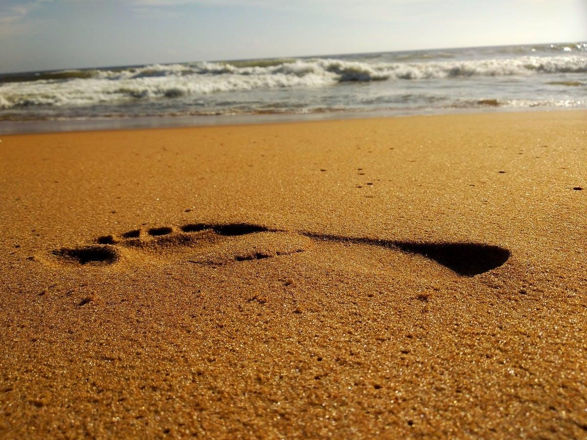 A footprint on a sandy beach