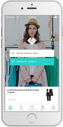 A screen shot of the ethical shopping 'Good On You' app's home page.