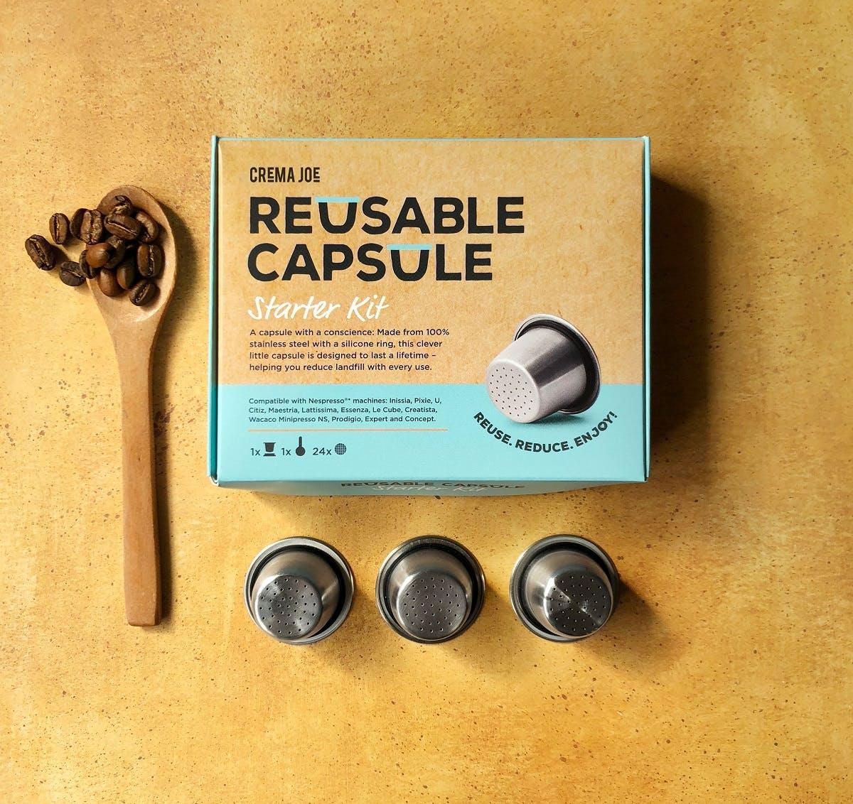 Reusable plastic free coffee capsules