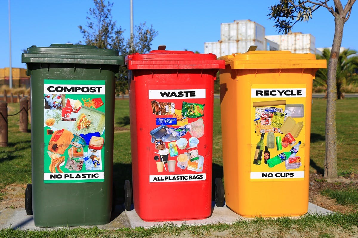 Three coloured bins: compost, waste and recycle