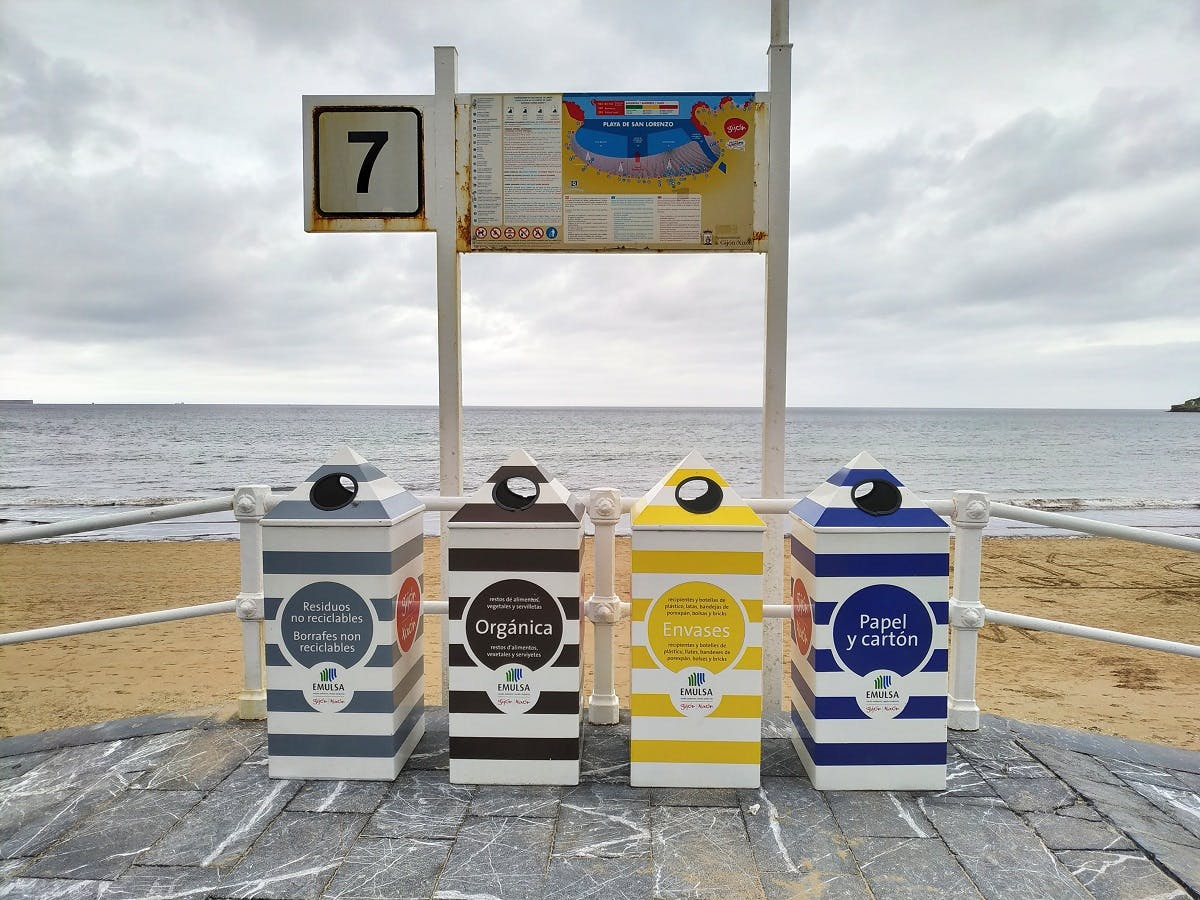 Recycling bins at a beach