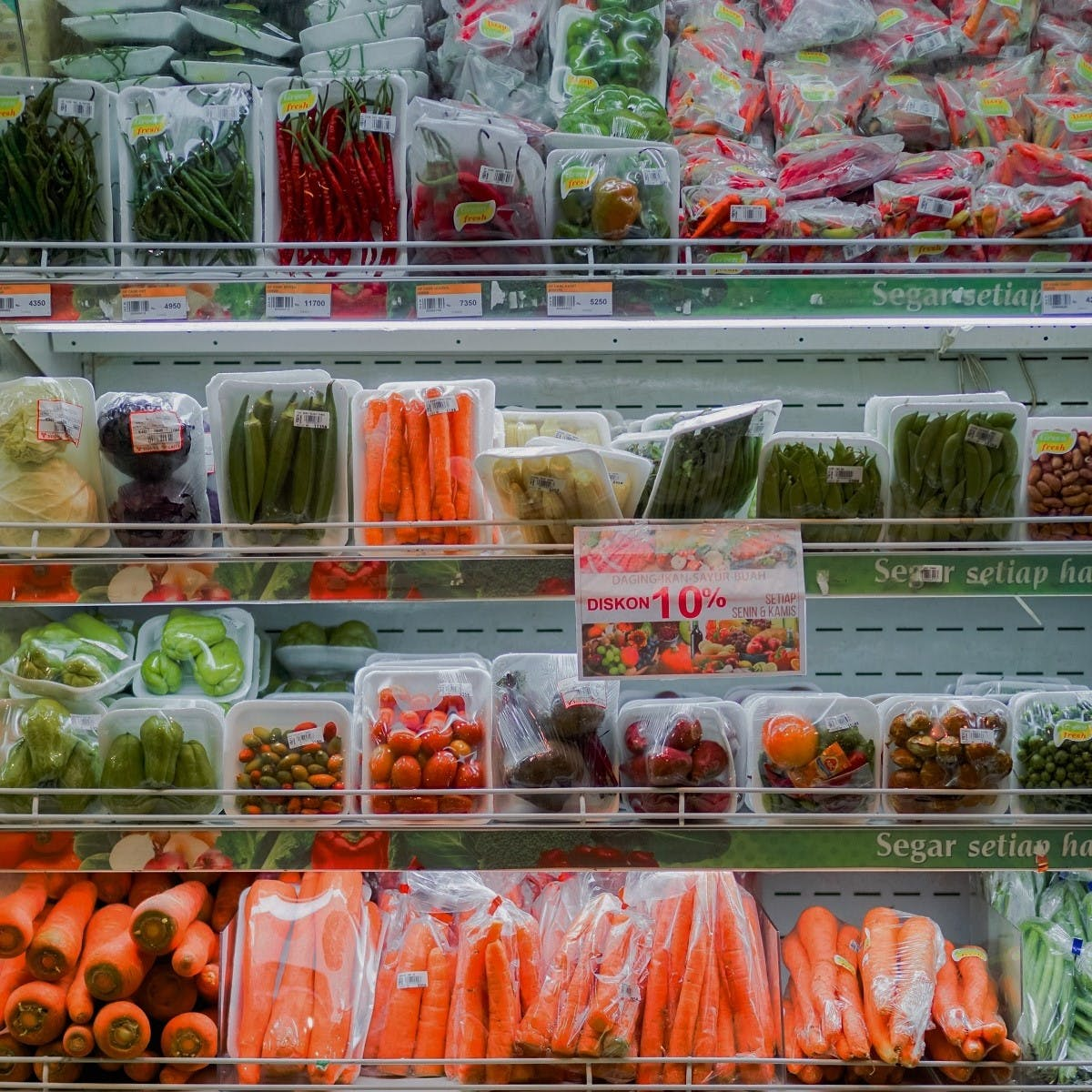 Various vegetables wrapped in plastic packaging in a supermarket. To refuse single use plastics such as needless packaging, is the first steps in living plastic free.