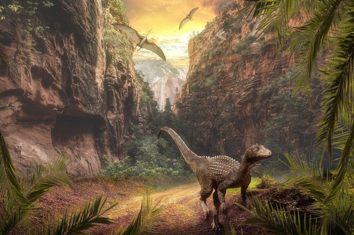 An image of our planet with dinosaurs.