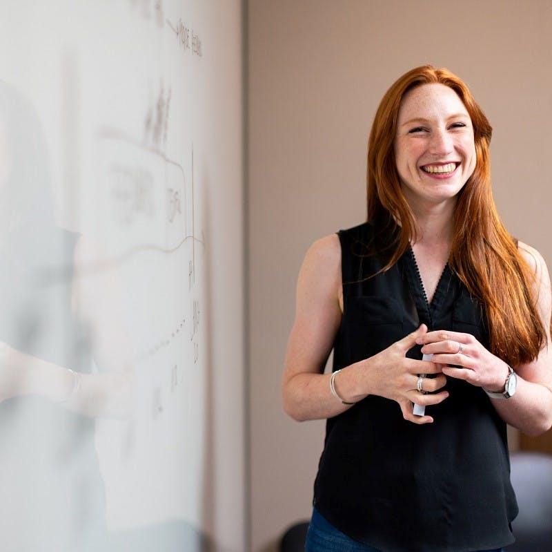 An office worker giving a presentation.