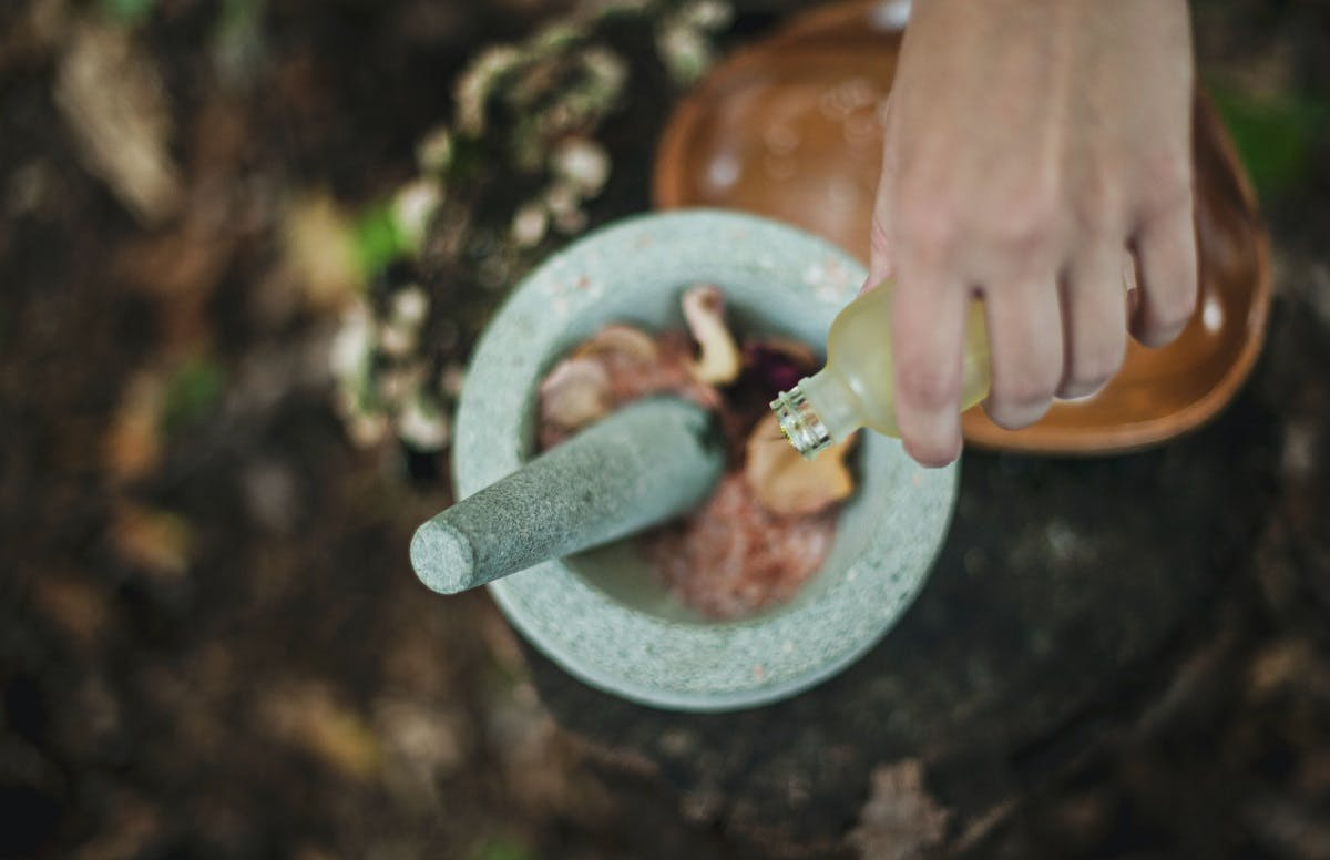 Somebody mixing up the success of their wild food foraging in a pestle and mortar.