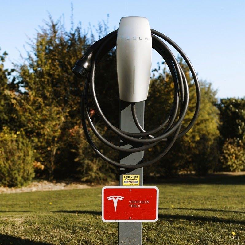 A Tesla charging point. Tesla have revolutionised the electric car market