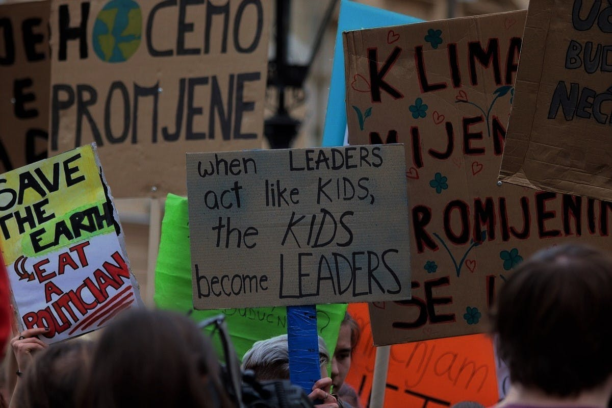 Young people demonstrate at a climate action march
