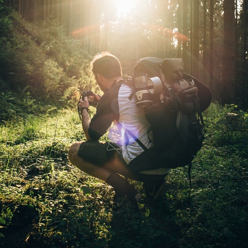 A backpacker kneels to take a break and enjoy the sunset in a forest.