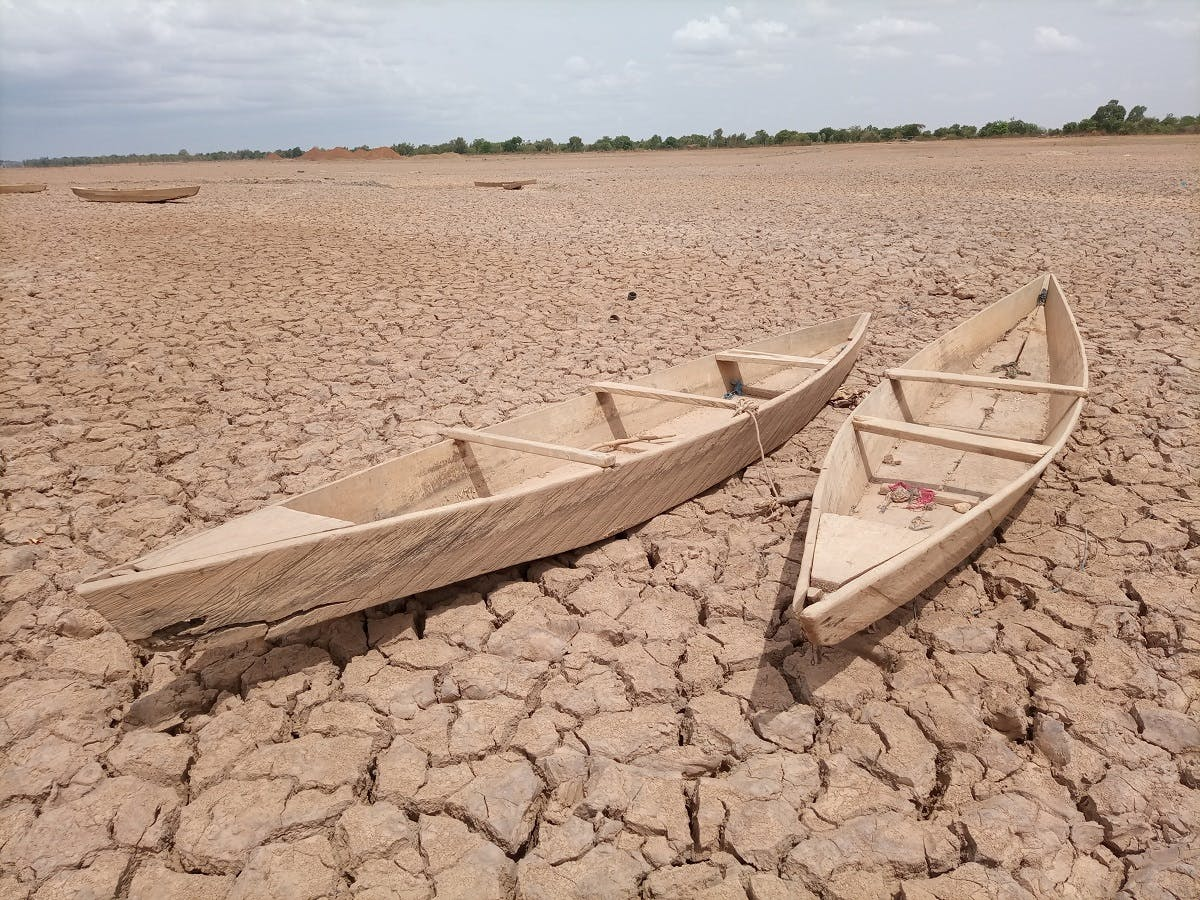 A dried up lake depicting the effects of climate change