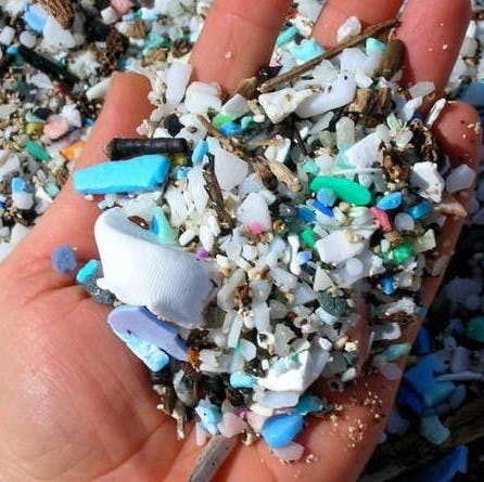 A handful of plastic microfibres. The more we refuse single use plastic, the less microfibres entering our waterways.