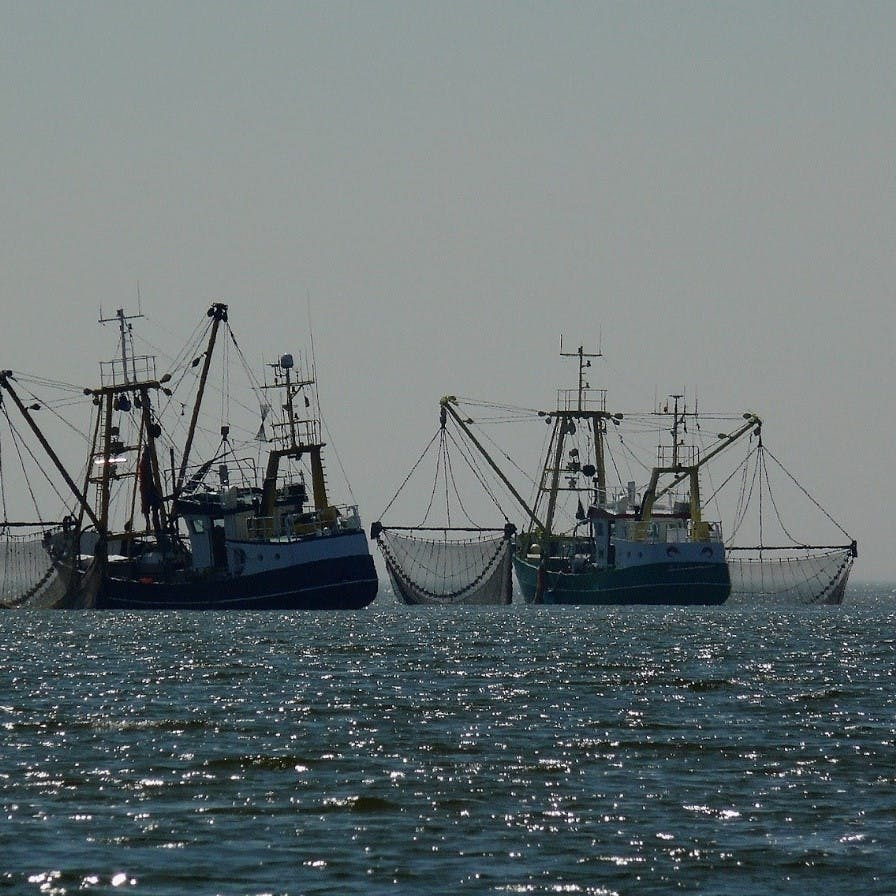 Two fishing trawlers casting their large drag nets out on the high seas