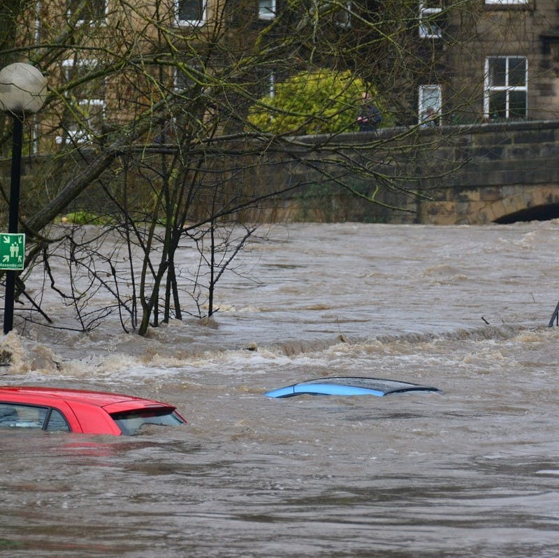 Three cars with flood water up to their roofs on a stormy day in the UK. Rewilding in Britain would help prevent such disasters.