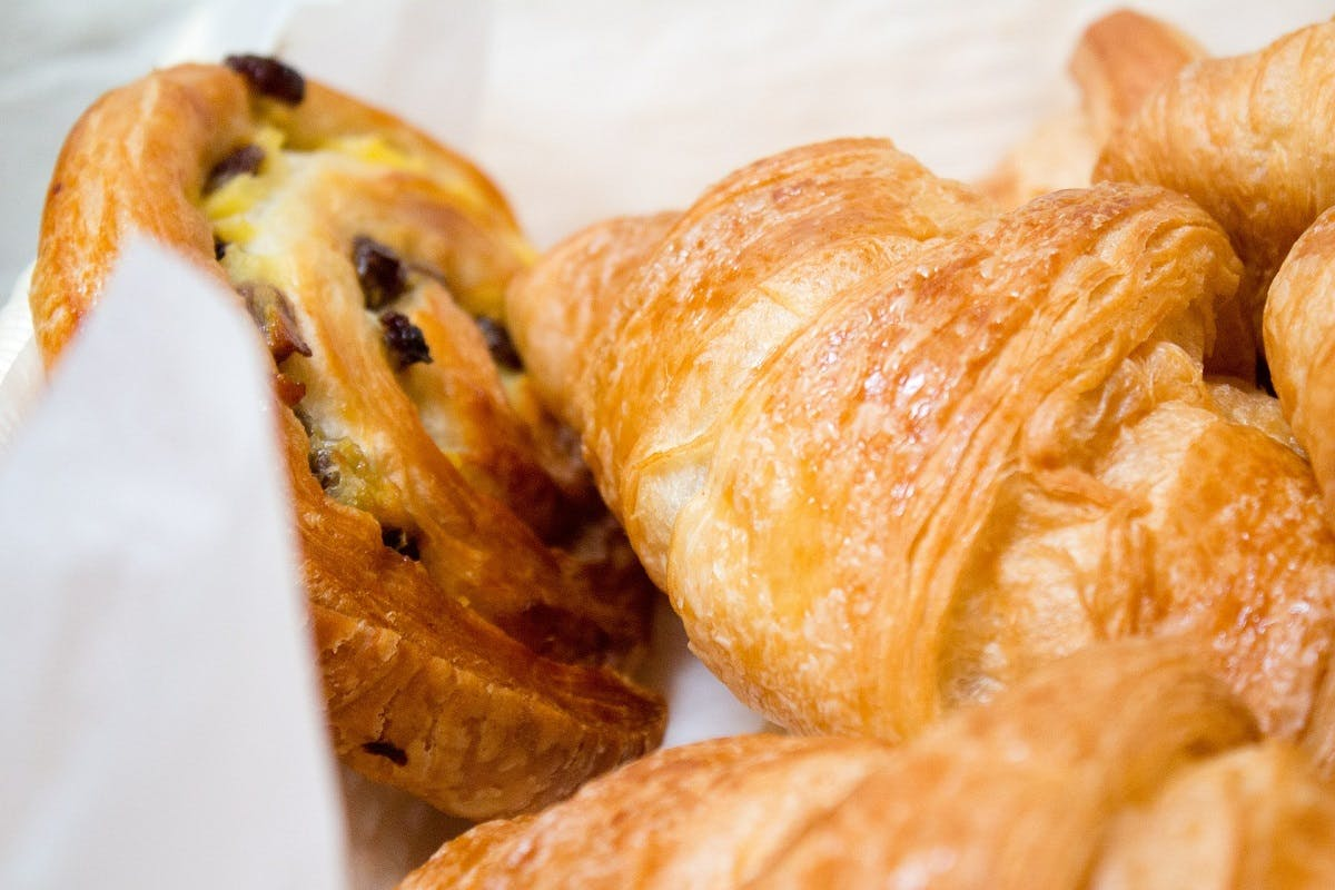 Being vegan doesn't mean you have to miss out on those naughty treats. Here is a selection of French pastries including croissants and pain aux raisin.