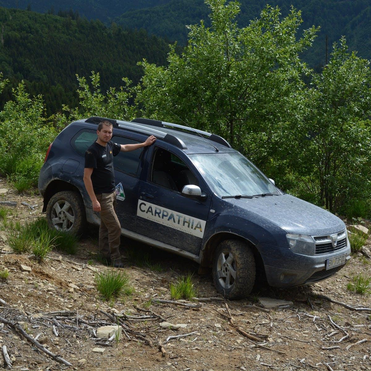 Daniel, an FCC ranger, on patrol in the Southern Carpathians in Romania.