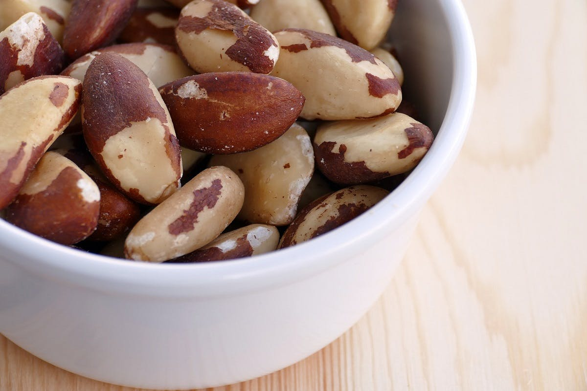 A bowl of brazil nuts. These nuts are an excellent source of selenium, which is often a concern when going vegan.
