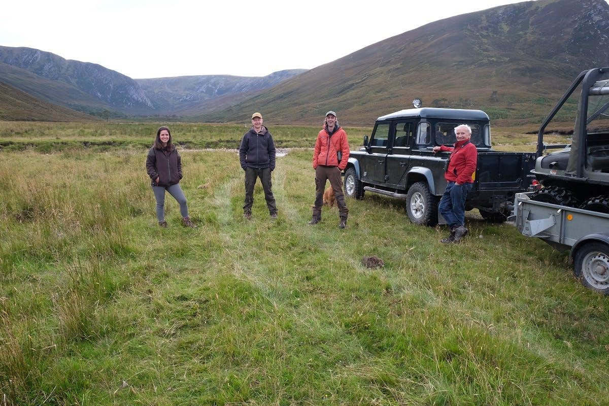Rewilding project team at Alladale Wilderness Reserve in the Scottish Highlands