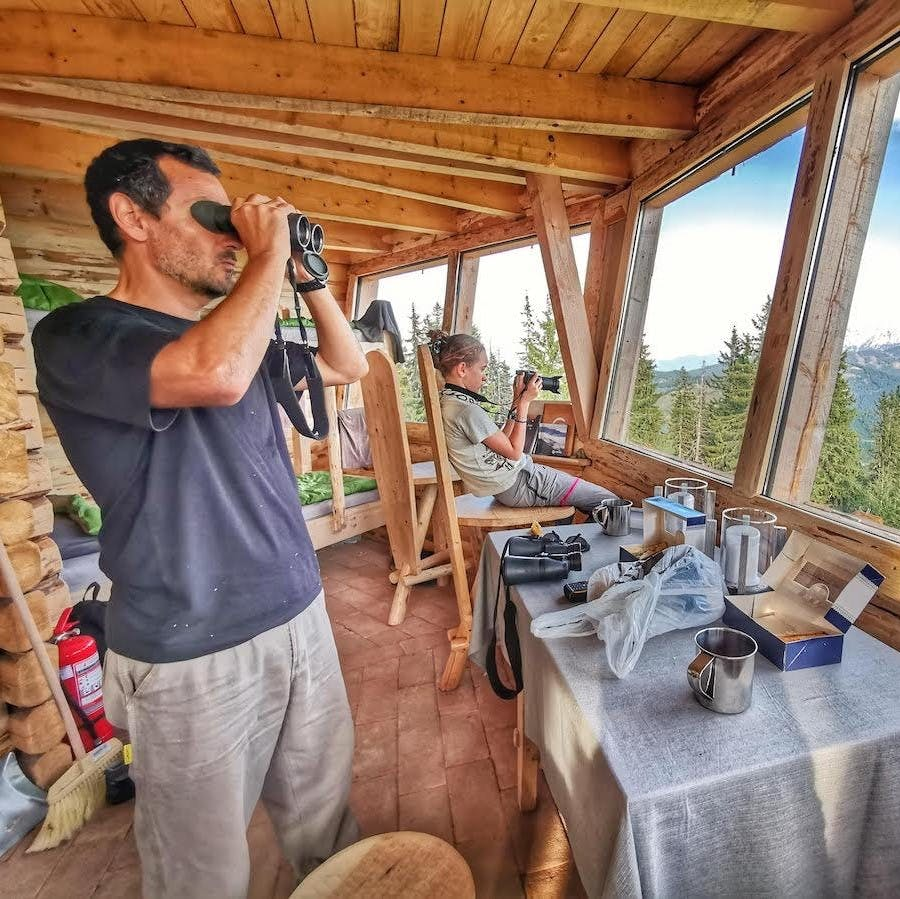 Tourists inside a wildlife hide look through binoculars and cameras