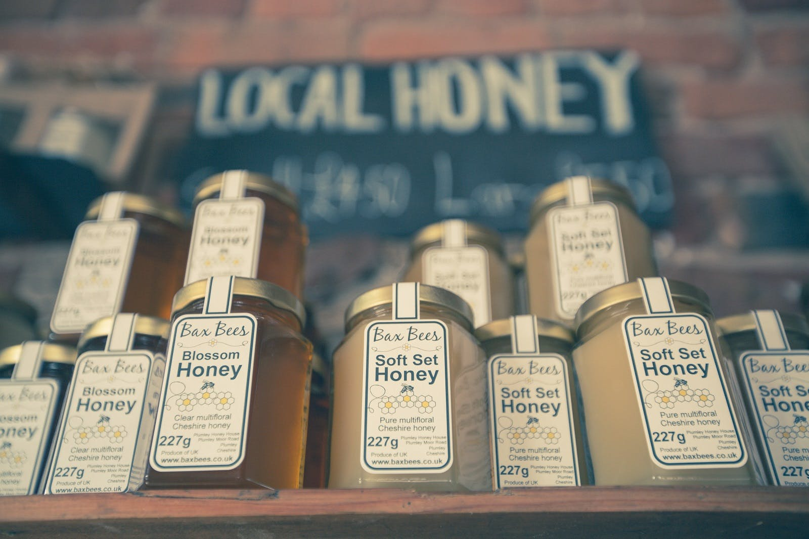 Ten jars of local sea salt and blossom honey on sale. Supporting your local beekeeper is key to saving the bees.