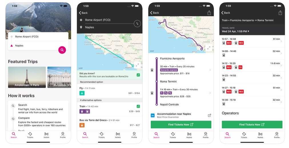 Various screen shots of the Rome2rio app demonstrating how easy it is to travel without flying.