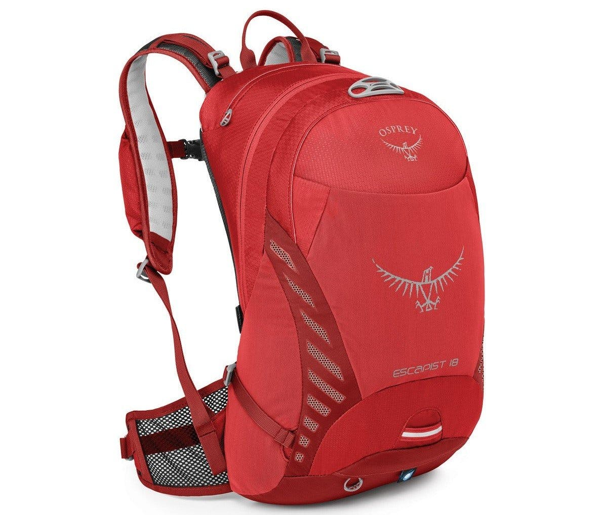 A red Osprey backpack. The perfect accessory for walking to work, running to work or cycling to work.