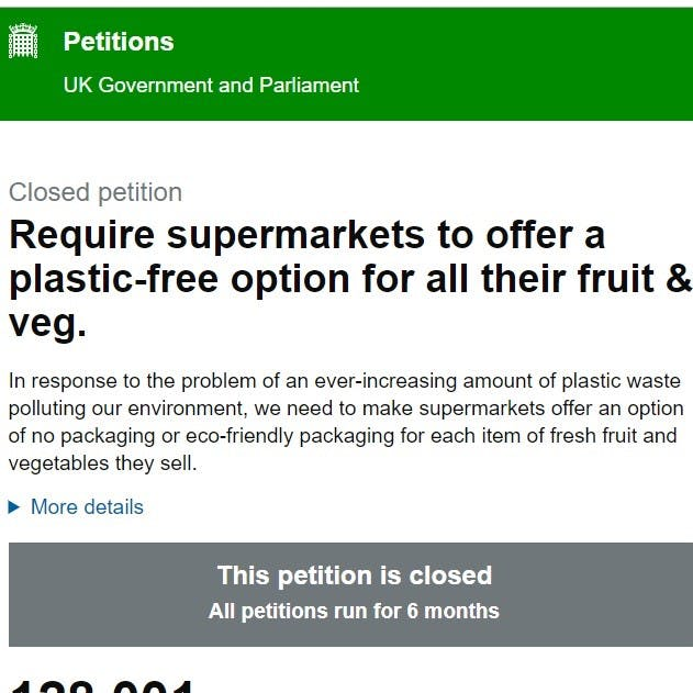 A screen shot of an online UK government and parliament petition. A great way of taking climate action in your area.