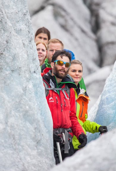 Icelandic mountain guide leading a glacier walk on Svinafellsjokull (close up)