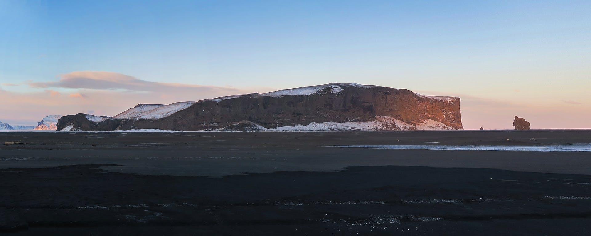 Hjorleifshofdi promontory in Iceland in winter