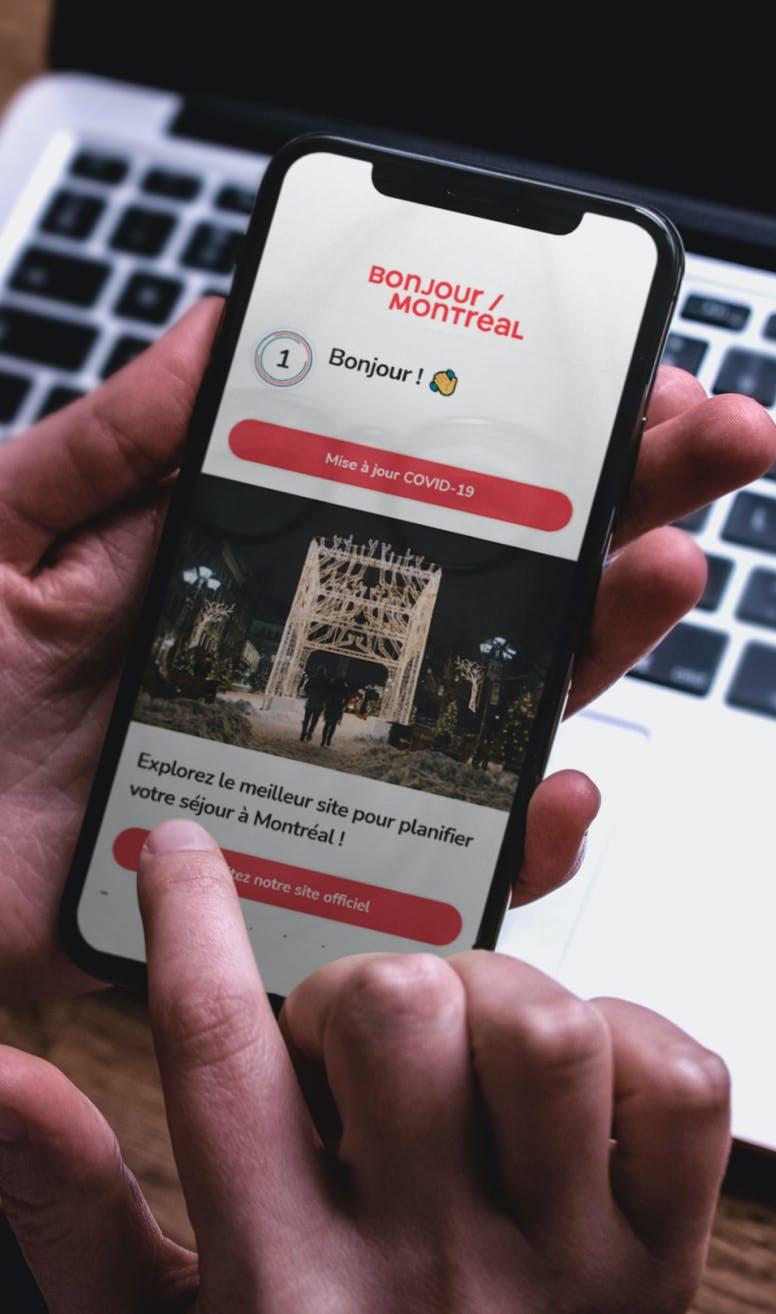 A person looking at Tourisme Montréal's content