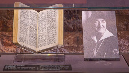 Corrie Ten Boom's Bible on display during the Light of Hope exhibition at Museum of the Bible
