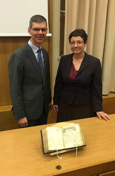 On October 26, 2018, Dr. Jeffrey Kloha, chief curatorial officer of Museum of the Bible, formally returned Manuscript 18 to the University of Athens and the care of Professor Theodora Antonopoulou.
