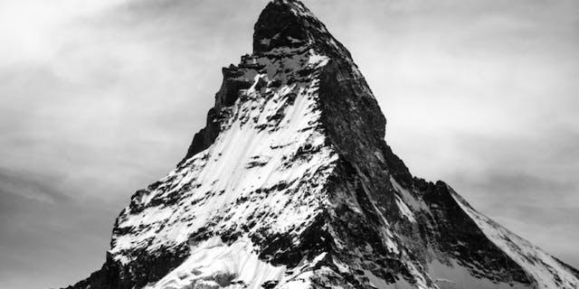 Matterhorn peak - high mountain in black and white