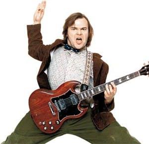 Jack Black playing the guitar school of rock