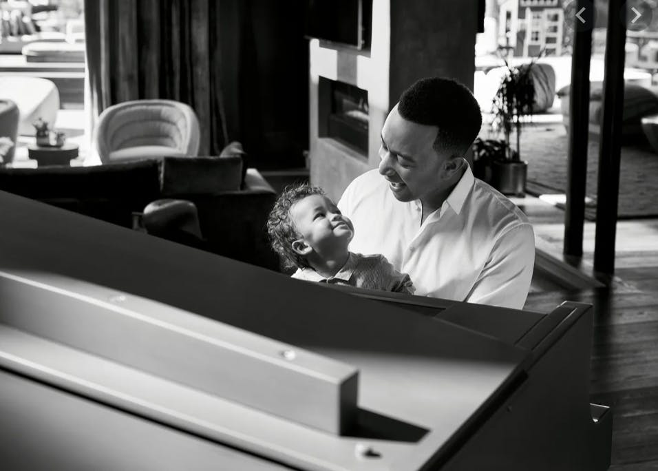 John Legend Playing Piano with his Child