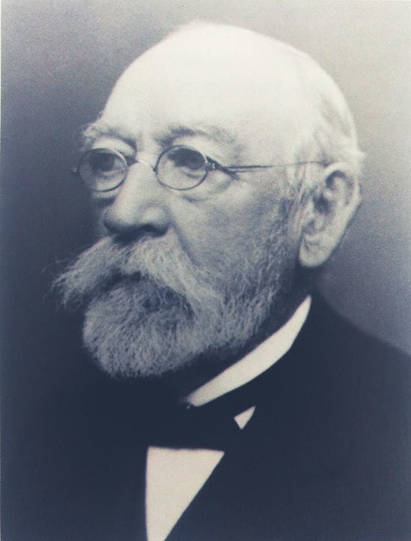 Old black-and-white photography of Matthias Topp, the engineer whose designs are still in use after over a hundred years since heis time at Mustad.
