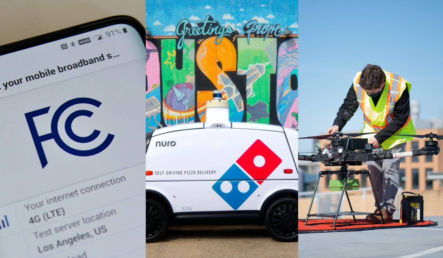 FCC broadband speed test app aims to provide more reliable service data—Dominos partners with Nuro to test driverless delivery service in Texas—Canada's first 5G drones launch on Rogers' network in Vancouver