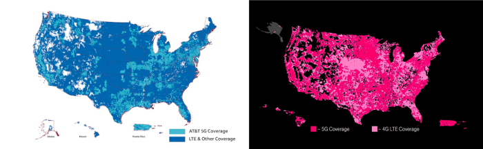 AT&T vs. T-Mobile 5G coverage maps. As Verizon has opted to roll out in select cities only, it makes sense that they opted out of providing a similar visual model.