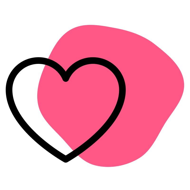 Vector art of a heart in front of a pink shape, on a transparent background