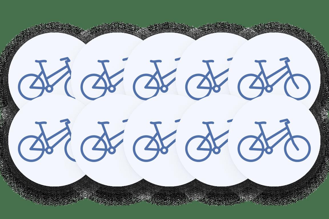 Ten bicycles icon