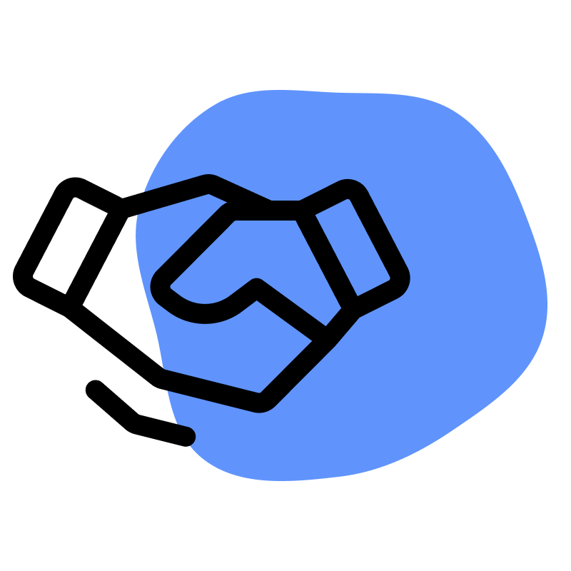 Vector art of two hands shaking in front of a blue shape, on a transparent background