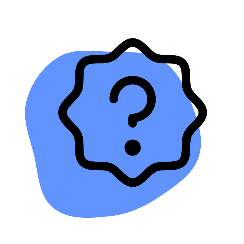 Question mark on blue circle