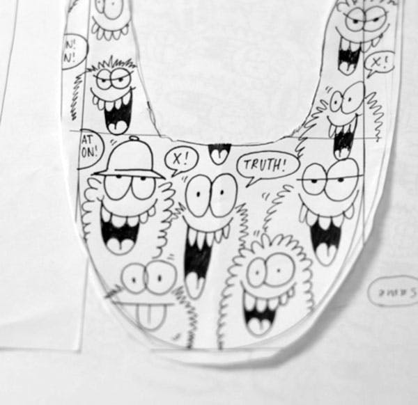 An artistic image of a sketch of the Kevins Lyons x truth Vans shoes