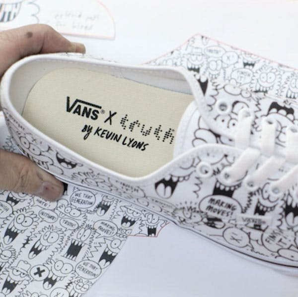 A close up look of the Vans x truth shoes designed by Kevin Lyons