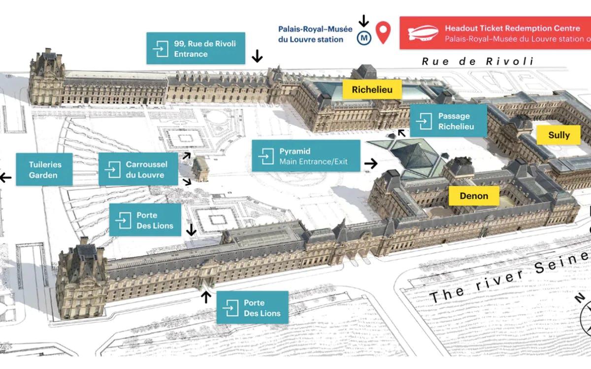 louvre entrances map